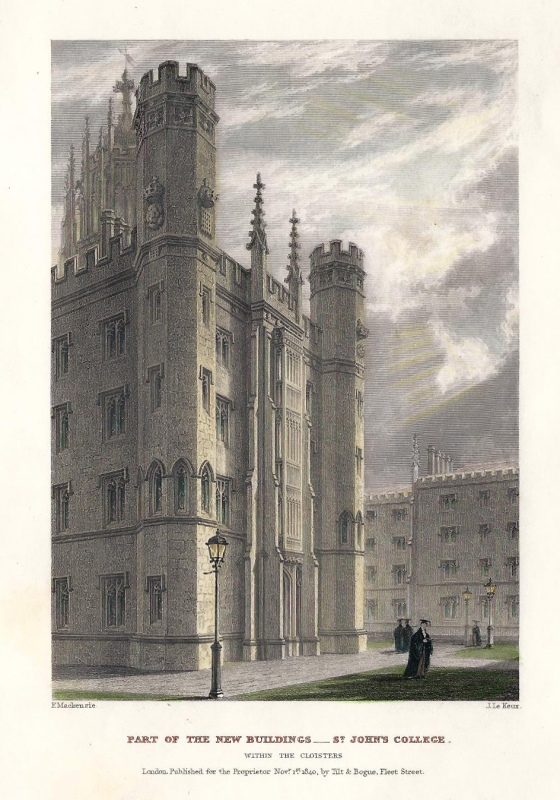 'PART OF THE NEW BUILDINGS New Court ST JOHN'S COLLEGE.' by F. Mackenzie / J. Le Keux c.1841