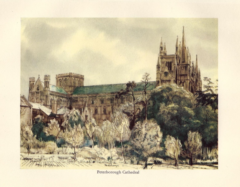 'Peterborough Cathedral' by Henry Rushbury c.1936