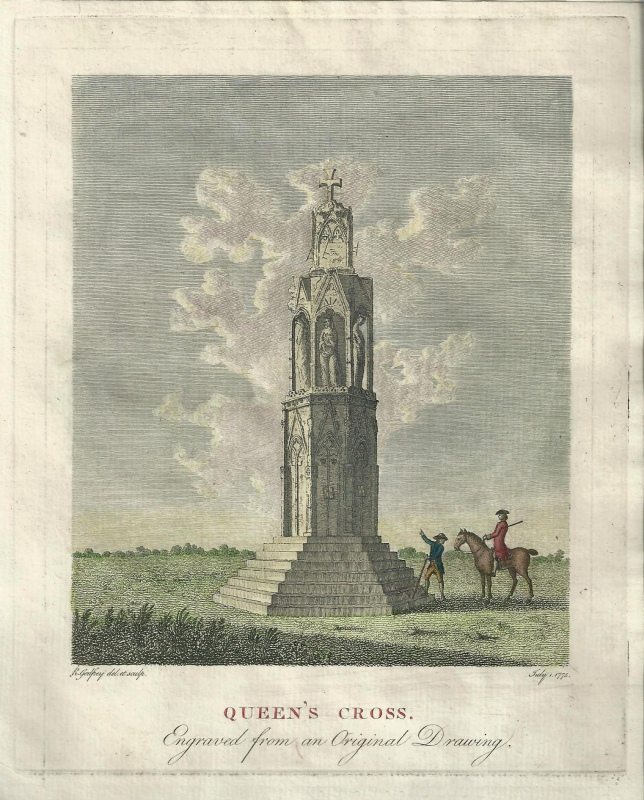 'QUEEN'S CROSS. Engraved from an Original Drawing.' by R. Godfrey c.1775
