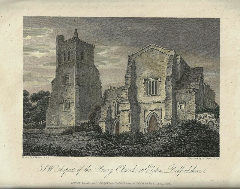 'S. W. Aspect of the Priory Church at Elstow Bedfordshire.' by T. Hearne / W. Byrne c.1803