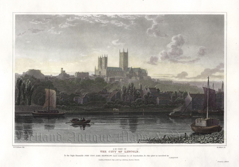 'S. W. VIEW OF THE CITY OF LINCOLN.' by G. F. Robson / H. Adlard c.1827