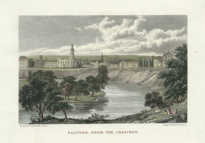 'SALFORD FROM THE CRESCENT.' by W. Westall / E. Francis c.1830