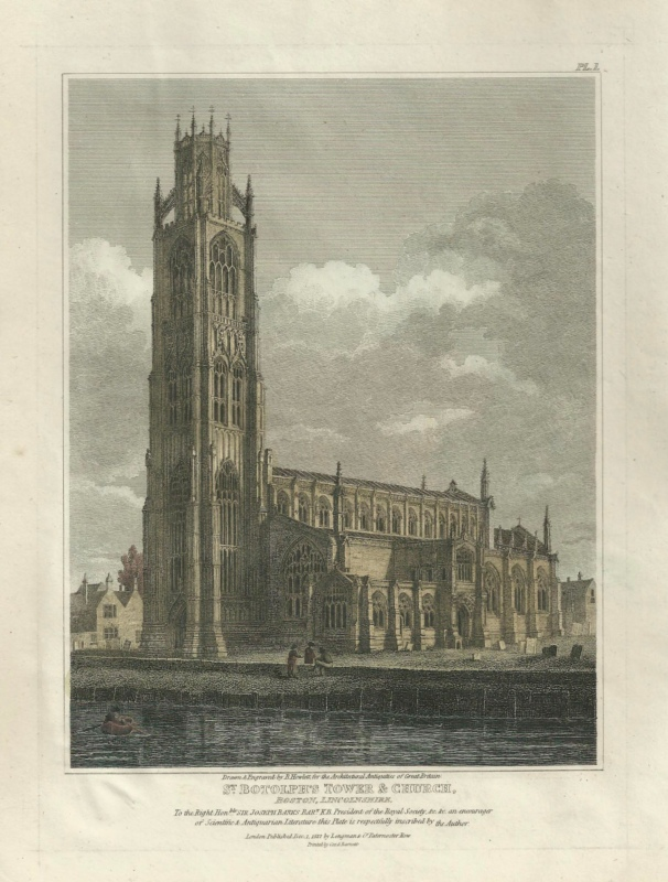 'ST. BOTOLPH'S TOWER & CHURCH BOSTON LINCOLNSHIRE' by B. Howlett c1812