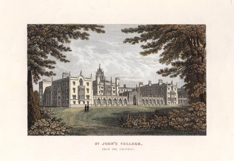 'ST. JOHN'S COLLEGE FROM THE GROUNDS.' by T. Dugdale c.1840s