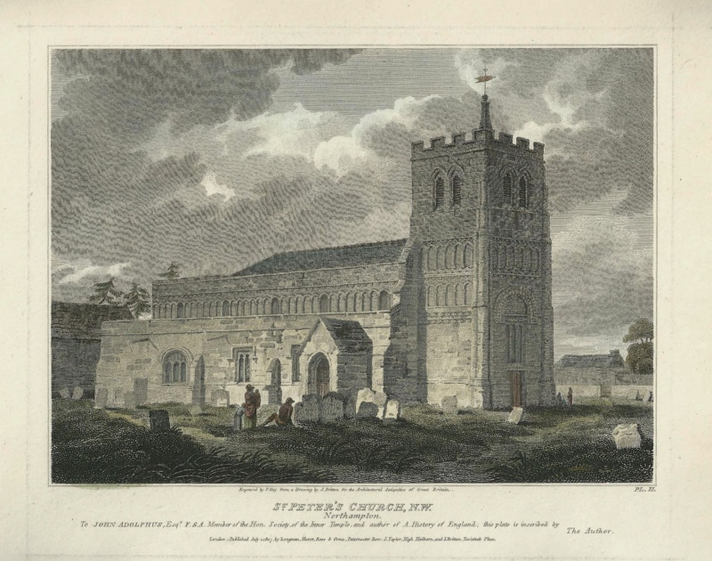'ST. PETER'S CHURCH N. W. Northampton.' by J. Britton / F. Hay c.1807