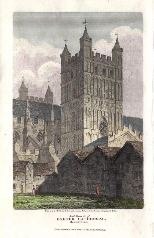 'South Tower &c of EXETER CATHEDRAL Devonshire.' by W. Dovey / W. Woolnoth c.1807