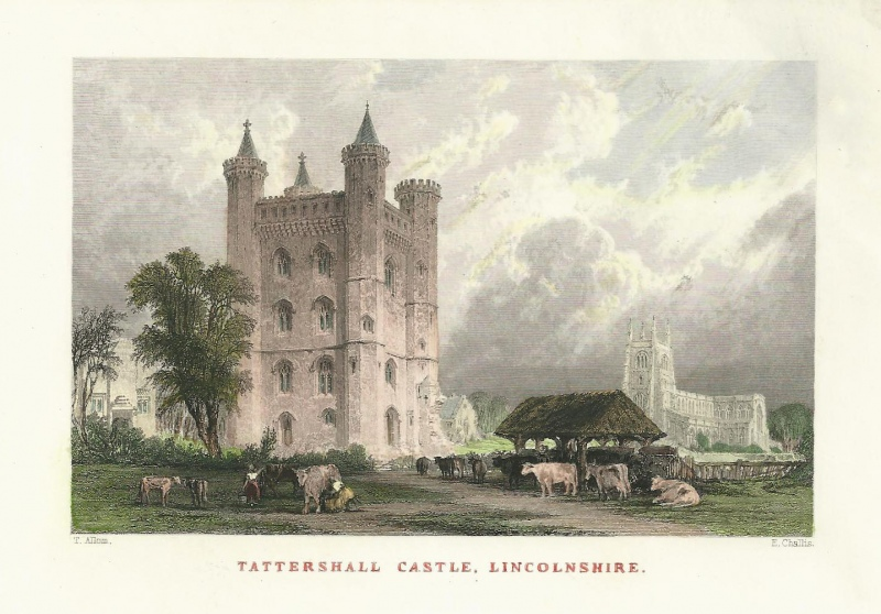 'TATTERSHALL CASTLE LINCOLNSHIRE.' by T. Allom / E. Challis c.1836