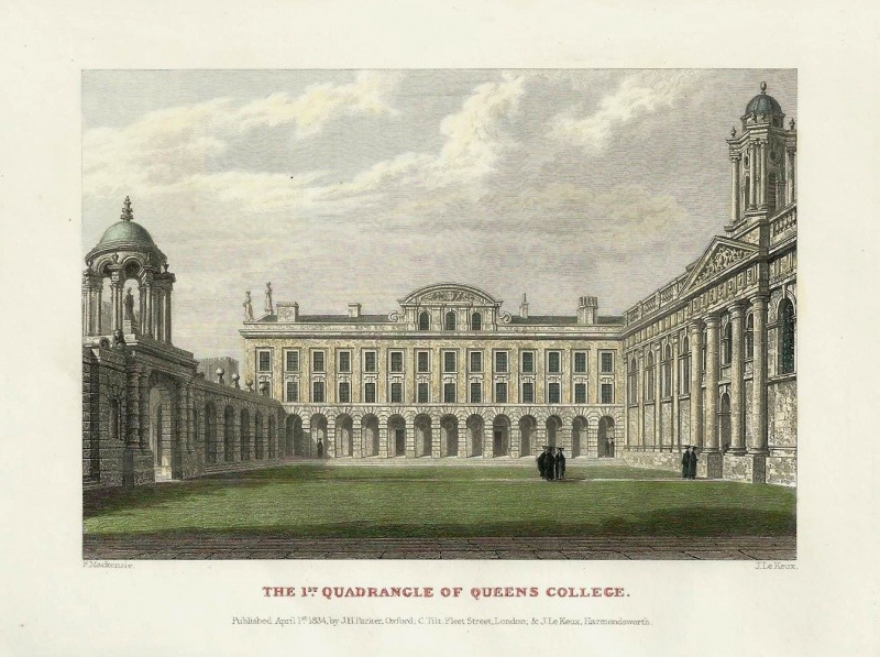 'THE 1ST QUADRANGLE OF QUEENS COLLEGE.' (Oxford) by F. Mackenzie / J. Le Keux c.1834