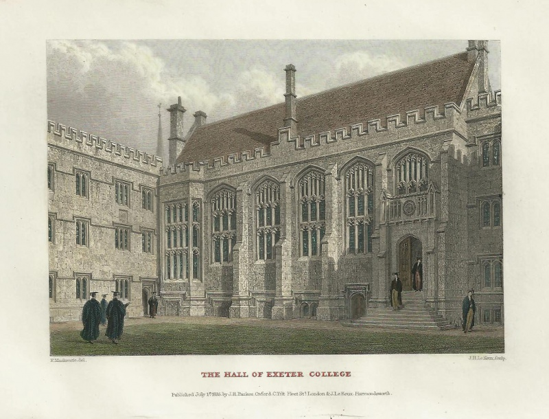 'THE HALL OF EXETER COLLEGE' (Oxford) by F. Mackenzie / J. H. Le Keux c.1835