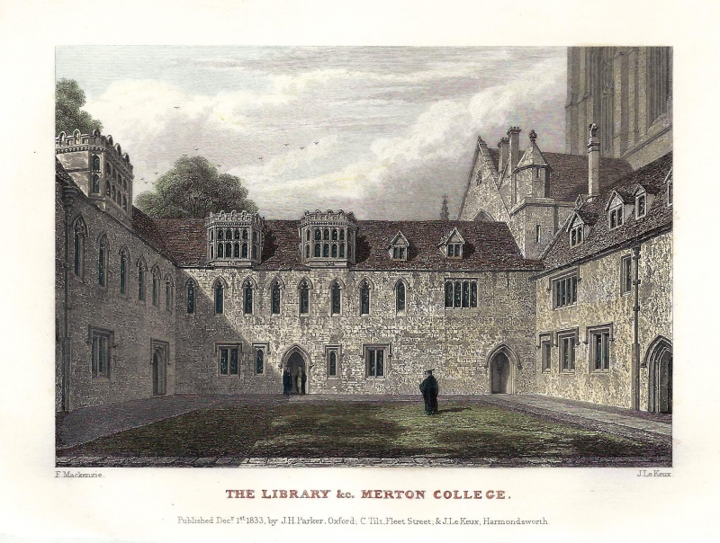 'THE LIBRARY &c. MERTON COLLEGE.' (Oxford) by F. Mackenzie / J. Le Keux c.1833
