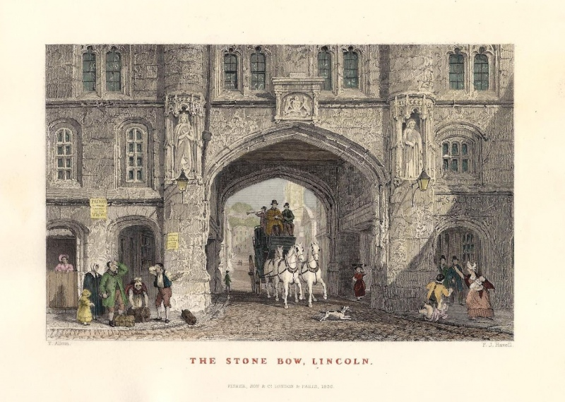 'THE STONE BOW LINCOLN.' by T. Allom / F. J. Havell c.1836