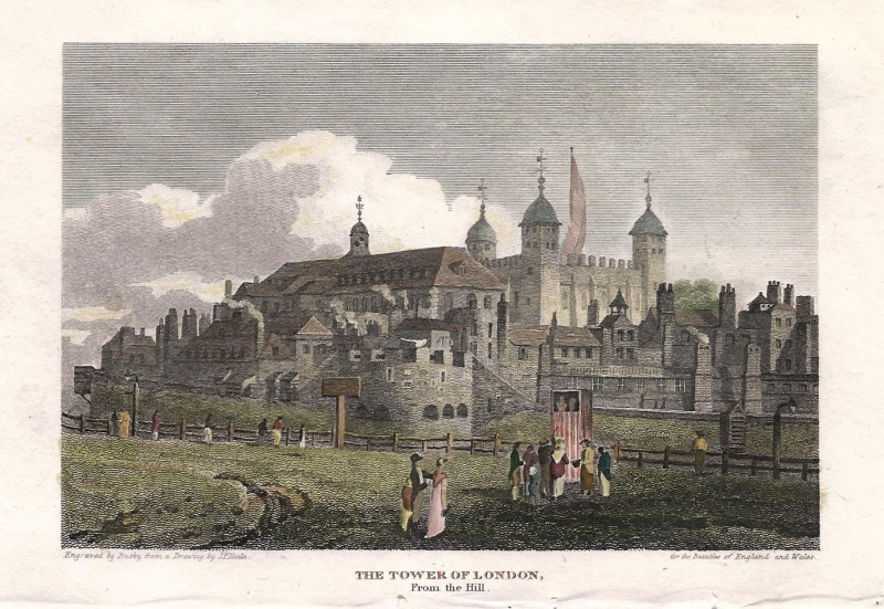 'THE TOWER OF LONDON From the Hill.' by J. P. Neale / Busby c.1814 (Beauties of England & Wales)
