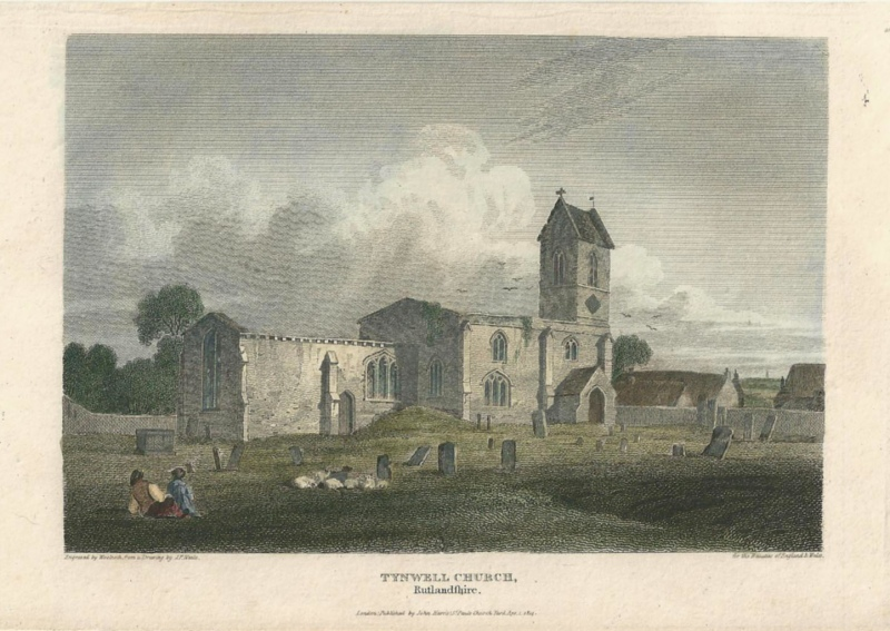 'TYNWELL CHURCH Rutlandshire.'  by J. P. Neale / Woolnoth c.1814 (Beauties of England & Wales)