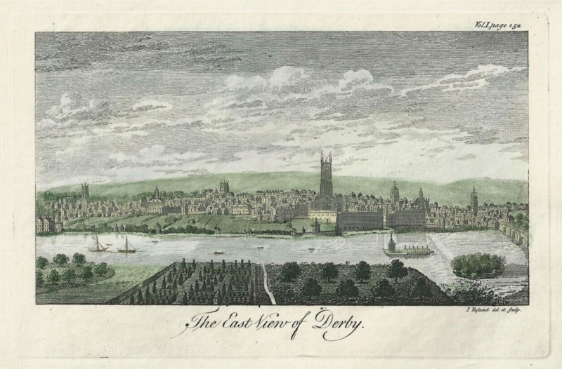 'The East View of Derby.' by J. Ryland c.1764