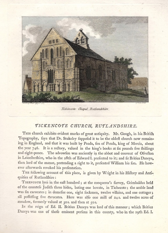 'Tickincote Chapel Rutlandshire''TICKENCOTE CHURCH...' by Newton / Hooper / Grose c.1773-1787