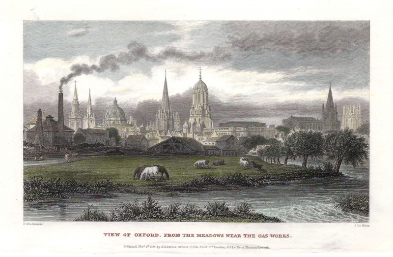 'VIEW OF OXFORD FROM THE MEADOWS NEAR THE GAS-WORKS.' by F. Mackenzie / J. Le Keux c.1835