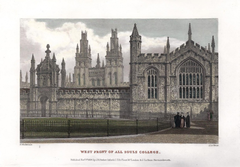'WEST FRONT OF ALL SOULS COLLEGE.' by F. Mackenzie / J. Le Keux c.1834
