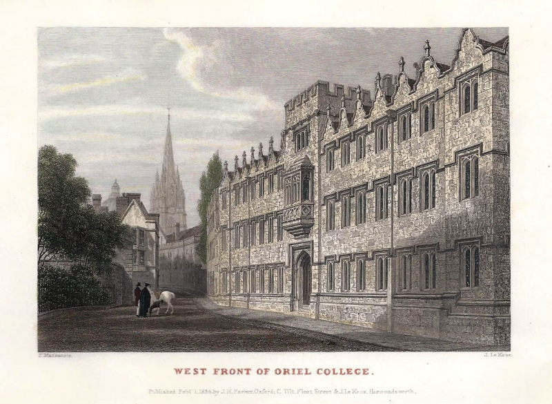 'WEST FRONT OF ORIEL COLLEGE.' by F. Mackenzie / J. Le Keux c.1834