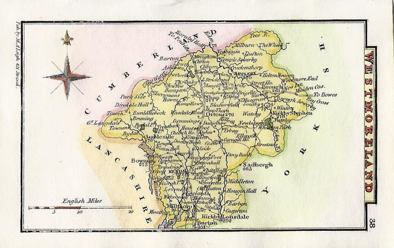 'WESTMORELAND' (part of Cumbria) by Leigh / Hall c.1835