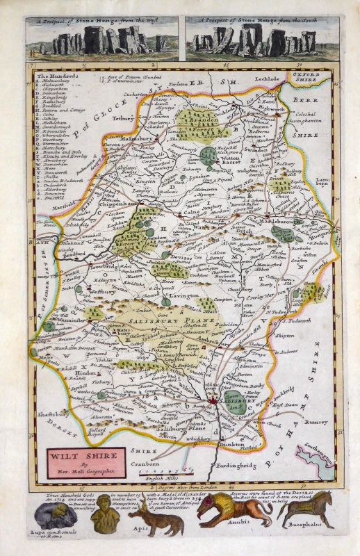 'WILT SHIRE' by Herman Moll c.1724-1739