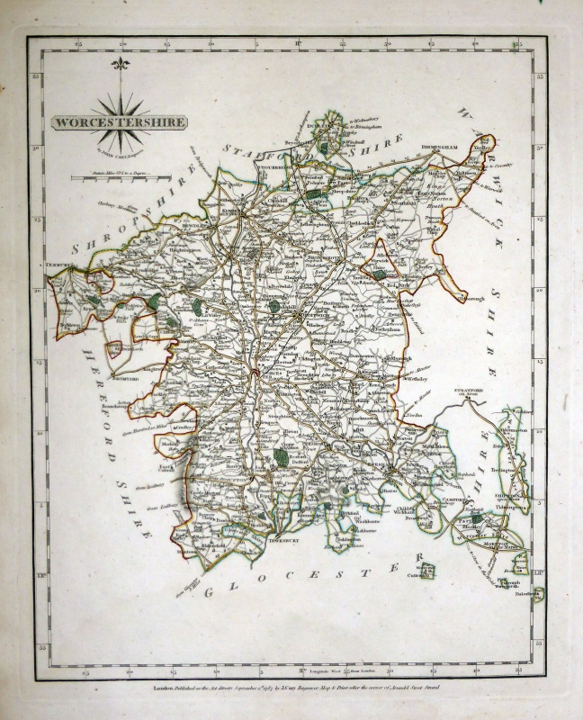 'WORCESTERSHIRE By JOHN CARY Engraver' c.1787 (New & Correct English Atlas)