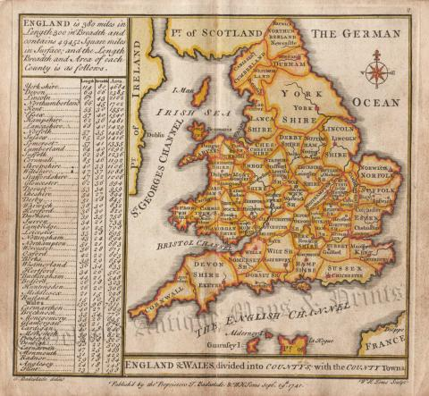 Map Of England And Ireland With Towns.England Wales Divided Into Countys With The County Towns By