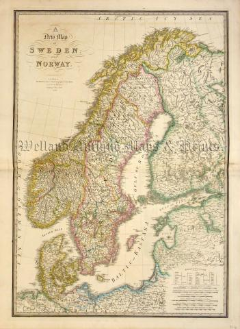 A New Map Of SWEDEN And NORWAY By James Wyld Geographer To The - Sweden new map