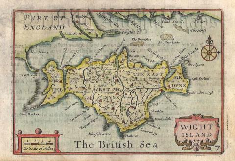 Map Of England 1600.Wight Island Miniature Speed Of The Isle Of Wight C 1666