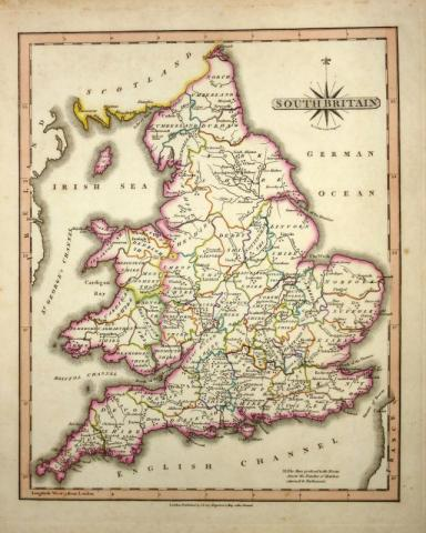 Britain England Map.South Britain England Wales By John Cary Engraver C 1818 New